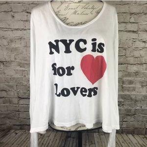 NYC is for lovers Wildfox Long Sleeve Tee shirt